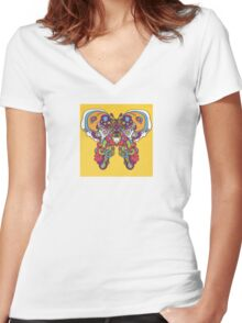 Psychedelic Butterfly Women's Fitted V-Neck T-Shirt