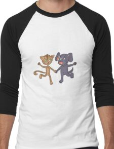 Cute and funny kitten and puppy  Men's Baseball ¾ T-Shirt