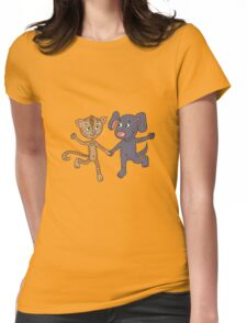 Cute and funny kitten and puppy  Womens Fitted T-Shirt