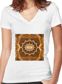 Fractal abstract color pattern Women's Fitted V-Neck T-Shirt