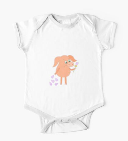 Sad pig with a flower in a hand One Piece - Short Sleeve