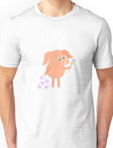 Sad pig with a flower in a hand Unisex T-Shirt