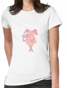 Happy piglet with a flower in a hand Womens Fitted T-Shirt