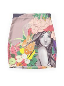 Flower Fruits Mini Skirt