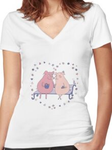 Couple of cute pigs sitting on a bench Women's Fitted V-Neck T-Shirt