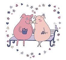 Couple of cute pigs sitting on a bench Photographic Print