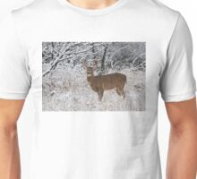 White-tailed deer buck in snow Unisex T-Shirt
