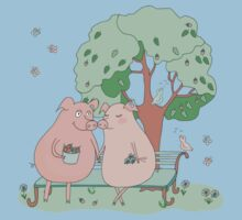 Couple of cute pigs sitting on a bench under a tree Baby Tee