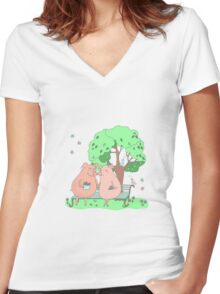 Couple of cute pigs sitting on a bench under a tree Women's Fitted V-Neck T-Shirt
