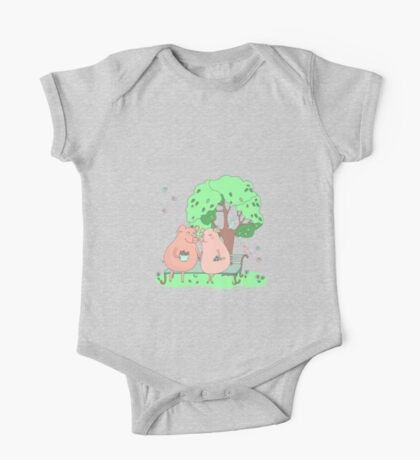 Couple of cute pigs sitting on a bench under a tree One Piece - Short Sleeve