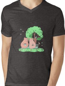 Couple of cute pigs sitting on a bench under a tree Mens V-Neck T-Shirt