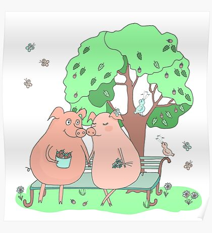 Couple of cute pigs sitting on a bench under a tree Poster