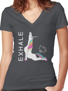 Yoga Unicorn - EXHALE Women's Fitted V-Neck T-Shirt