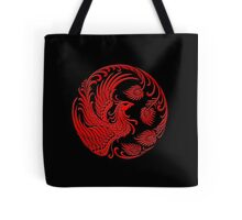 Traditional Red Chinese Phoenix Circle Tote Bag