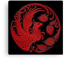 Traditional Red Chinese Phoenix Circle Canvas Print