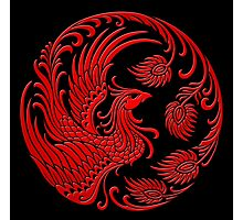 Traditional Red Chinese Phoenix Circle Photographic Print