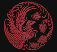 Traditional Red Chinese Phoenix Circle Kids Tee