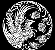 Traditional White Chinese Phoenix Circle by Jeff Bartels