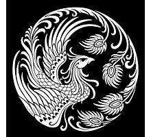 Traditional White Chinese Phoenix Circle Photographic Print