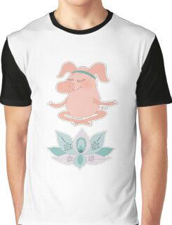 Cute happy pig blindly sits in a lotus pose, meditation Graphic T-Shirt