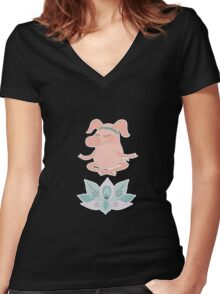 Cute happy pig blindly sits in a lotus pose, meditation Women's Fitted V-Neck T-Shirt