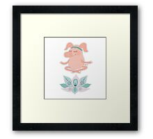 Cute happy pig blindly sits in a lotus pose, meditation Framed Print