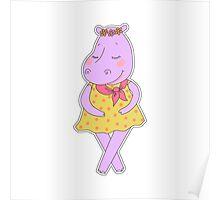 Cute hippopotamus in a dress in peas  Poster