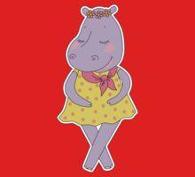 Cute hippopotamus in a dress in peas  Kids Tee