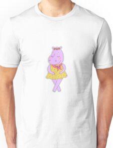 Cute hippopotamus in a dress in peas  Unisex T-Shirt