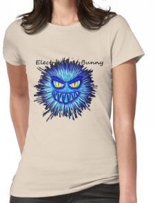 Electric Dust Bunny Black and Blue Womens Fitted T-Shirt