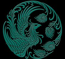 Traditional Teal Blue and Black Chinese Phoenix Circle by Jeff Bartels