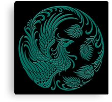 Traditional Teal Blue and Black Chinese Phoenix Circle Canvas Print