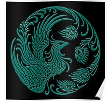 Traditional Teal Blue and Black Chinese Phoenix Circle Poster