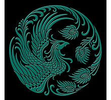 Traditional Teal Blue and Black Chinese Phoenix Circle Photographic Print