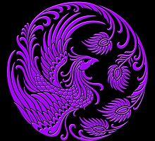 Traditional Purple Chinese Phoenix Circle by Jeff Bartels