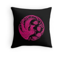 Traditional Pink Chinese Phoenix Circle Throw Pillow