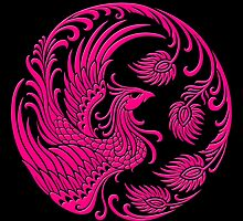 Traditional Pink Chinese Phoenix Circle by Jeff Bartels