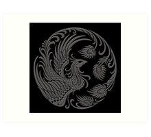 Traditional Dark Chinese Phoenix Circle Art Print