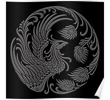 Traditional Dark Chinese Phoenix Circle Poster