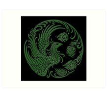 Traditional Green and Black Chinese Phoenix Circle Art Print