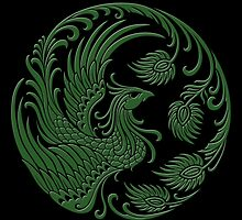 Traditional Green Chinese Phoenix Circle by Jeff Bartels