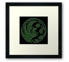 Traditional Green and Black Chinese Phoenix Circle Framed Print