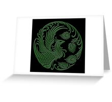 Traditional Green and Black Chinese Phoenix Circle Greeting Card