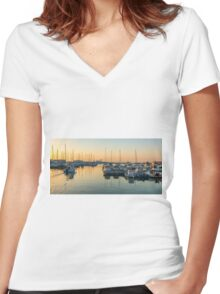 Leaving the marina at dawn Women's Fitted V-Neck T-Shirt