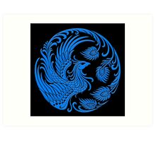 Traditional Blue Chinese Phoenix Circle Art Print