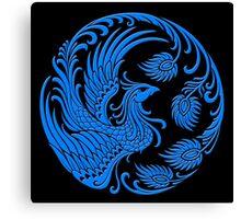 Traditional Blue Chinese Phoenix Circle Canvas Print