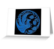 Traditional Blue Chinese Phoenix Circle Greeting Card