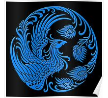 Traditional Blue Chinese Phoenix Circle Poster