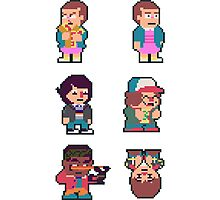 Adorable Stranger Things Pixel Sticker Set! Photographic Print