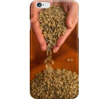 Raw Coffee beans pouring out of hands iPhone Case/Skin